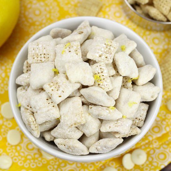 Lemon Puppy Chow Snack Mix Is A Sweet And Citrus Y Candy Treat Made From Chex Cereal White Chocolate A Puppy Chow Snack Mix Puppy Chow Snack Lemon Puppy Chow
