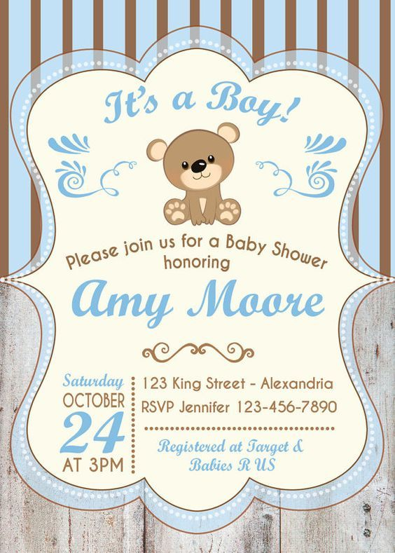 Baby Shower Invitation Baby Boy Bear Babyshower Invite Teddy Bear Babyshower Invitation Printable Baby Shower Invitations Baby Bear Baby Shower Baby Shower Invitations For Boys