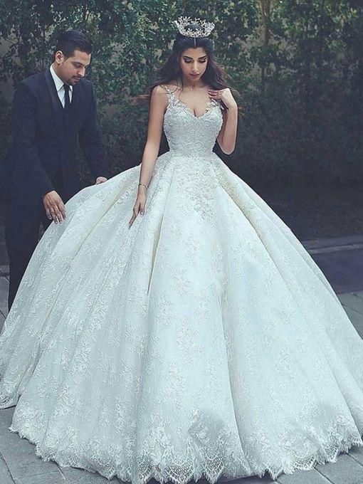 Luxury Wedding Dresses Spaghetti Straps Ball Gown Lace Bridal Gown