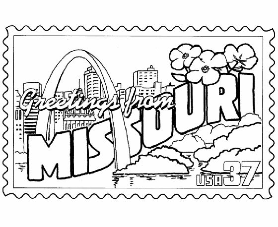 Missouri State Stamp Coloring Page Usa Coloring Pages