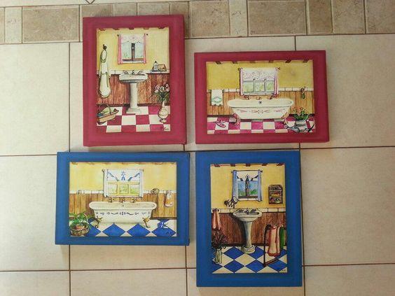 Cuarteto de cuadros para ba o arte para mi casa pinterest - Cuadros para bano ...