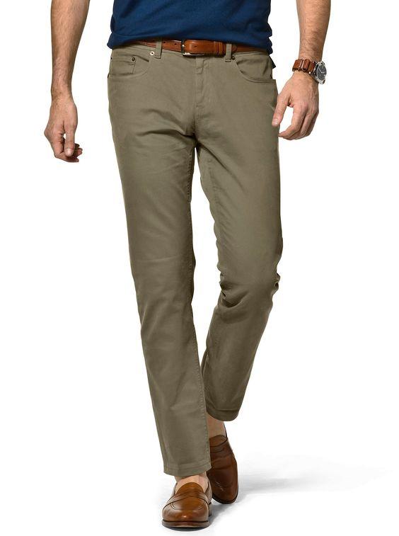J.Hilburn 5-pocket garment-dyed twill pants in olive drab.