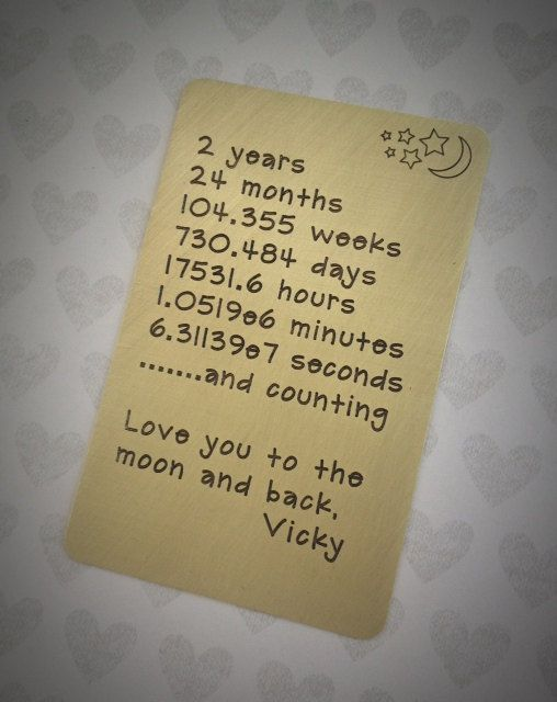 Two Year Wedding Anniversary Ideas For Him : ... Anniversary,Weddings,Husband Gift,2nd Anniversary,Mens Gift,Love Note