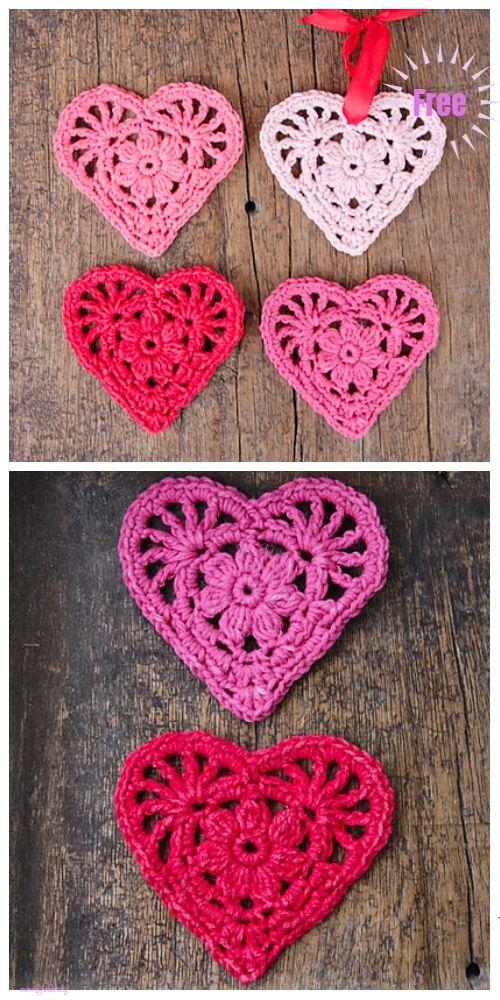 Christmas Crochet Heart Ornament Free Patterns Valentines Crochet Crochet Heart Pattern Christmas Crochet