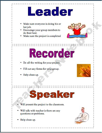 Collaborative Learning Classroom Management : Cooperative learning job cards classroom management