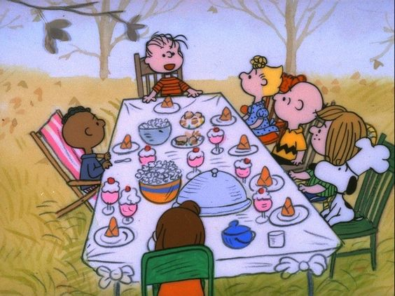 "In ""A Charlie Brown Thanksgiving"", Peppermint Patty invites herself and her friends over to Charlie Brown's for Thanksgiving, and with Linus, Snoopy, and Woodstock, he attempts to throw together a Thanksgiving dinner.  The t.v. special originally aired on November 20th., 1973.:"