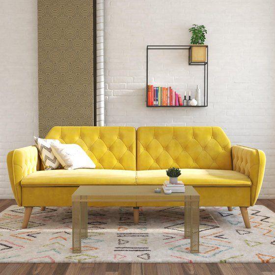 Novogratz Tallulah Sofa Bed In Velvet Yellow Walmart Com Small Couch In Bedroom Futon Sofa Bed Green