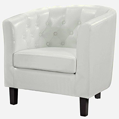 Comfy Armchair White Vinyl Modern Small Faux Leather Armchair With