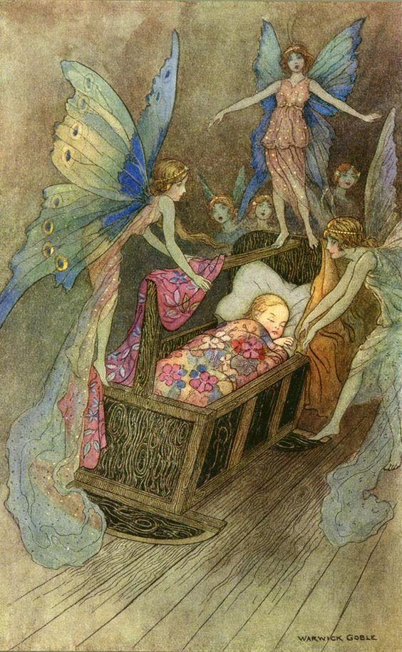 fairies around a child's bed.
