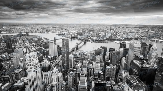 A monochrome shot of New York's skyline, shot from one of New York's tallest skyscrapers
