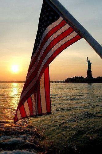 Sunset. American flag.