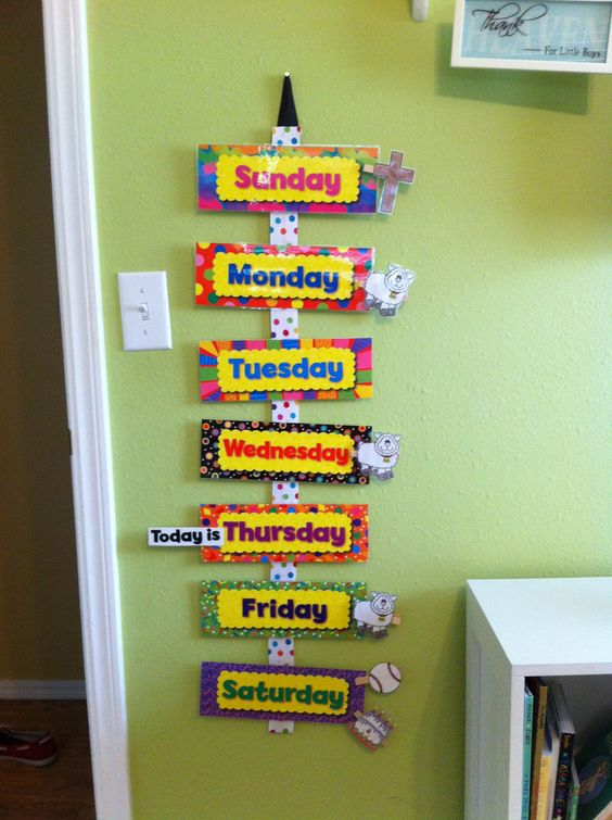 """Toddler Weekly Calendar. Glued ribbon on a yard stick, used Velcro to attach the days of the week. Printed out clip art of activities of the week, ie school, church, t-ball, birthdays, holidays, etc. Glued them to clothes pins that can be interchanged. Also included a """"Today is"""" clip that my son can move everyday. Great way to teach the days of the week, and no more 100 questions about when his t-ball game is, I tell him to look at his calendar!!"""