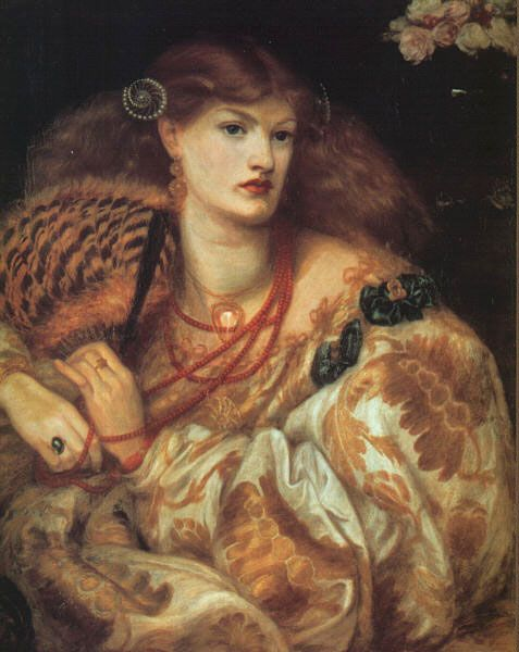 One of Rossetti's many portraits of rather sensous women. The man had some serious issues, but his almost fetish-like of patterned fabrics, abundant hair and porcelain skin is in accord with my own likes!