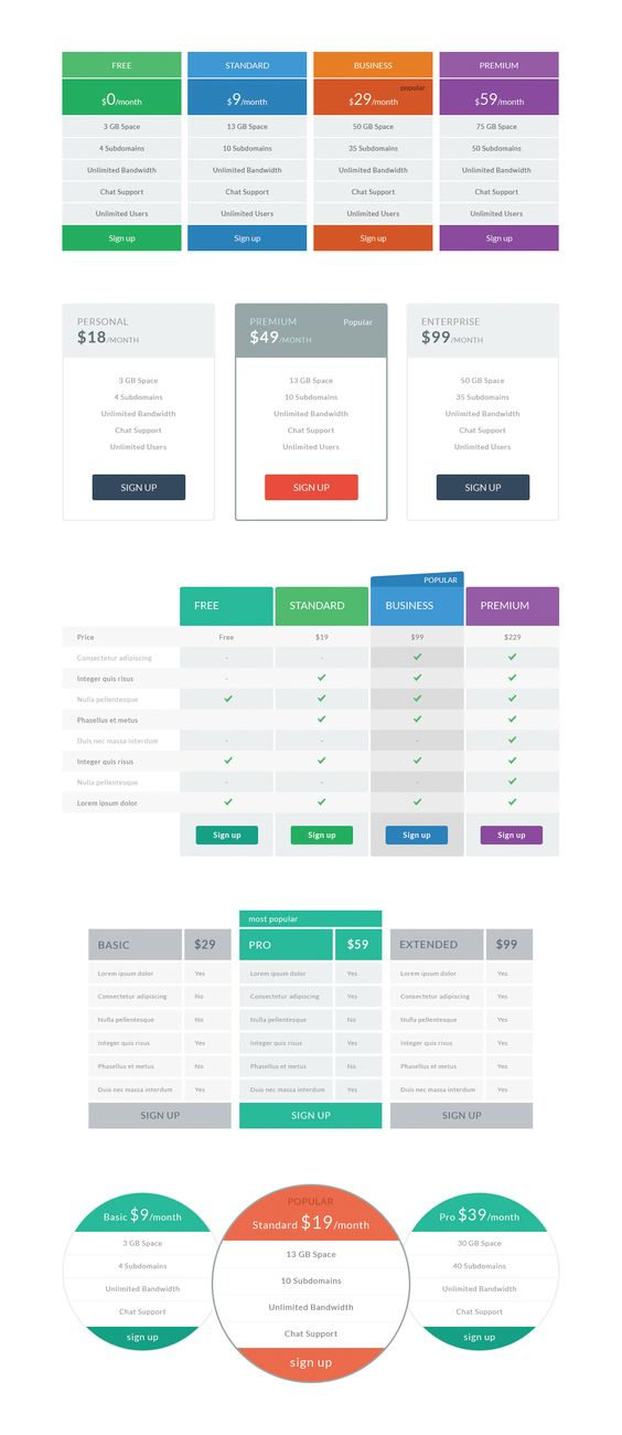Free flat pricing tables graphics store pinterest for Table design ui