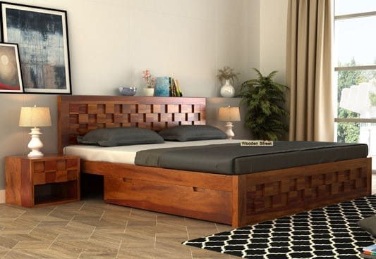 Travis Bed With Three Quarter 3 4 Storage Space Beneath In The