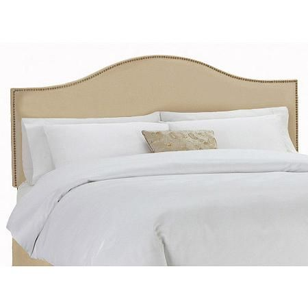 Skyline Furniture Oatmeal Upholstered Arched Headboard with Nailheads, Multiple Sizes