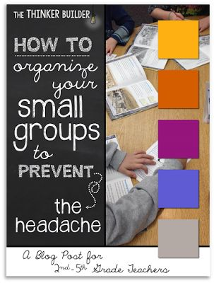 How to Organize Your Small Groups to PREVENT the Headache. This (fantastic) post by The Thinker Builder gives several very clear and detailed options for organizing small groups into both 3-a day and 2-a day meetings with flexibility minutes built in. I can already tell this is going to save my sanity!