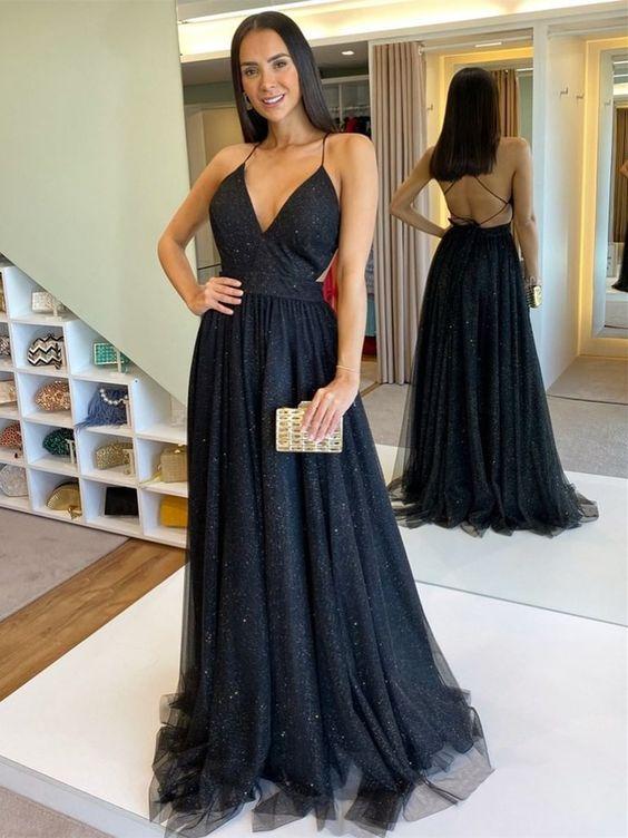 Vestido de formatura preto charmoso