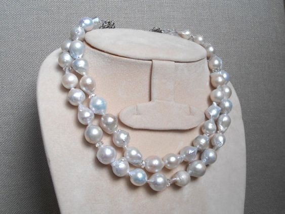 Big pearls double strand necklace with by MilanChicChandeliers