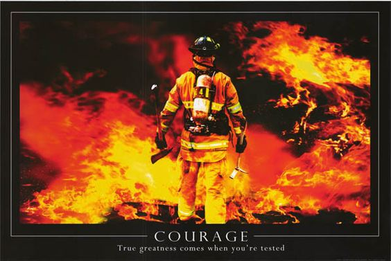 Courage Inspirational Quote Firefighter Poster 24x36 – BananaRoad