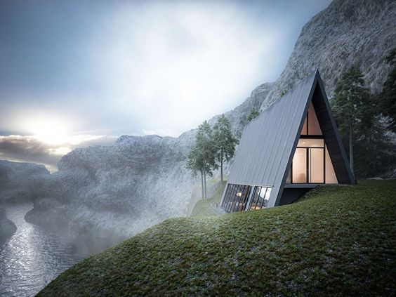 A concept house on the side of a cliff by architect Matthias Arndt, Lichtecht designer and CEO.