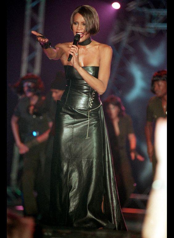 Whitney Houston Black Leather Outfit!!!