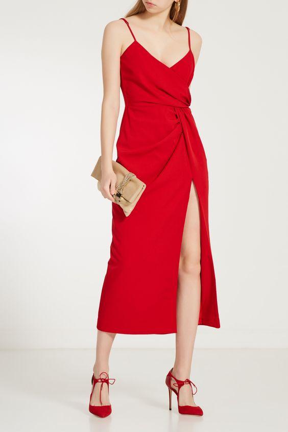 Красное платье на бретелях LAROOM – купить в интернет-магазине в Москве