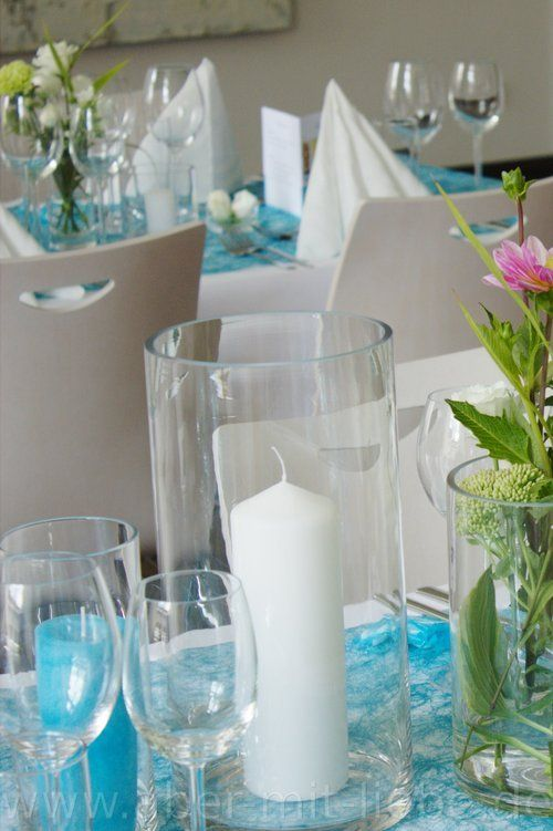 ... mit Akzenten in pink, Tischdeko Hochzeit, Hochzeitsdeko türkis