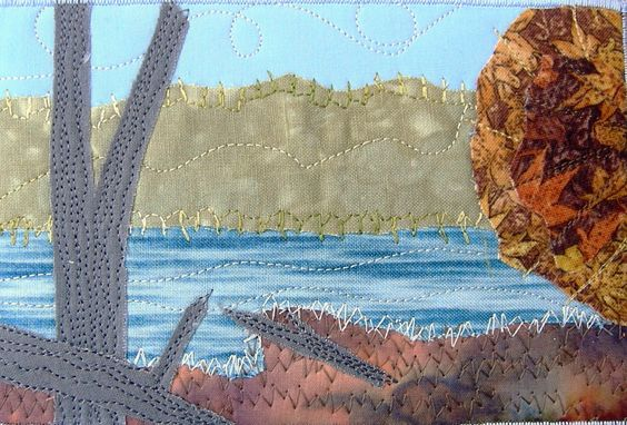 Handmade Fabric Postcard, Fall Lake Quilted Postcard Art, Greeting Card, Autumn Lake Landscape, Mountains and Lake by SewUpscale on Etsy