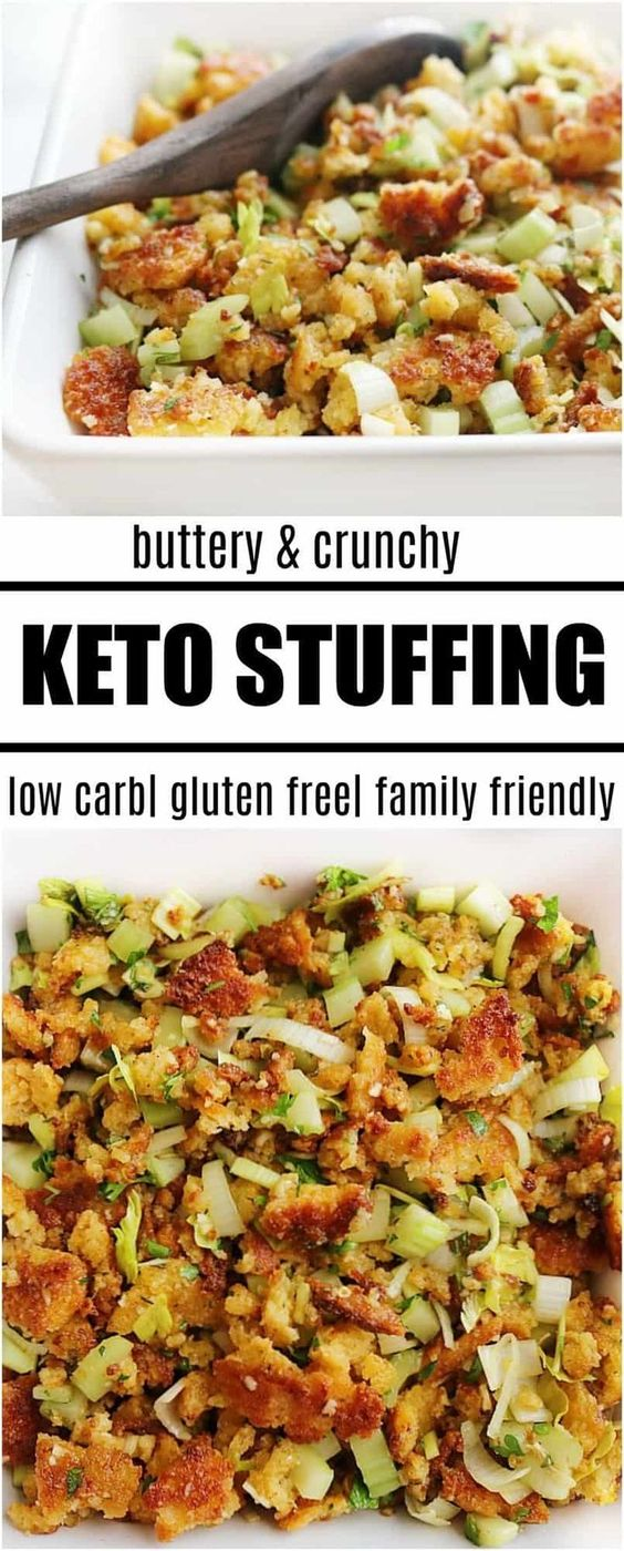 This keto stuffing recipe that is going to become your favorite this holiday season. You can serve it for both Thanksgiving and Christmas. It is a super EASY recipe to put together and has all of the traditional flavors everyone loves. Holidays are stressful enough without having to cook both a low carb and regular stuffing. The answer . . . make one! This easy recipe for keto stuffing with be the one your entire family will eat this holiday season! #holiday #fall #keto #glutenfree #recipe