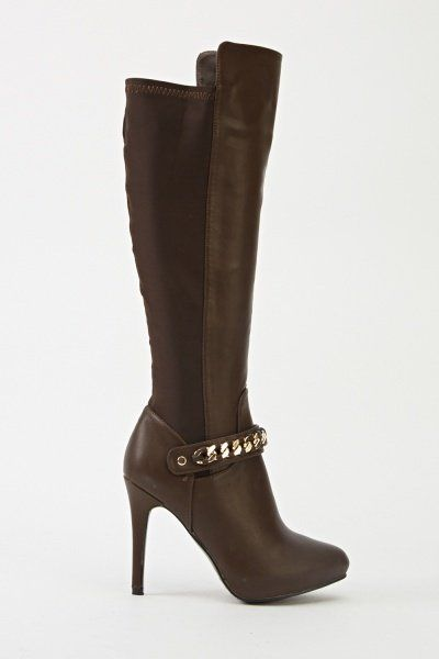 Chained Contrast Heeled Knee High Boots
