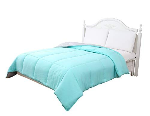 Reversible Down Alternative Comforter Features Tiffany Blue And