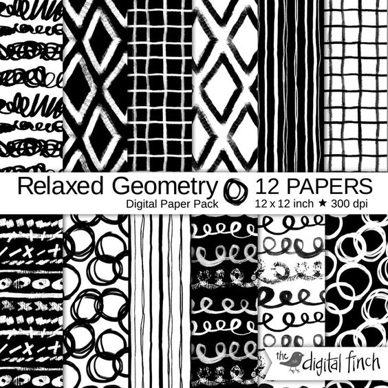 "Hand painted Digital Papers - Relaxed Geometry hand drawn scrapbooking paper - 12x12"" - 300 dpi - instant download - commercial use by TheDigitalFinch on Etsy"