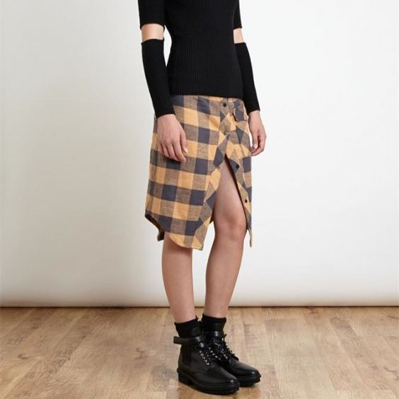 FILLES A PAPA -Checked Cotton Skirt -THE SHAPE OF THE SEASON
