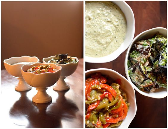 the kosher spoon : Middle Eastern Salads: Tahini, Roasted Peppers, and Eggplant with Green Onions and Cilantro