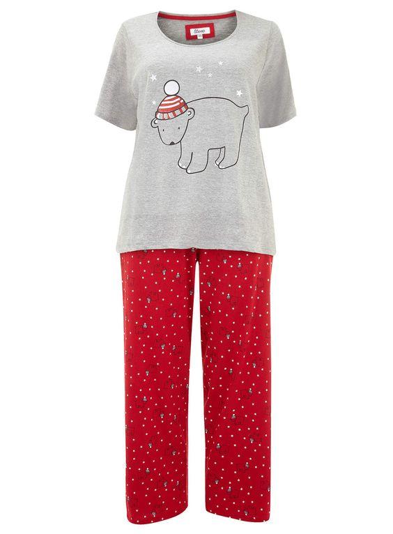 Evans Grey & Red Polar Bear Pyjama Set