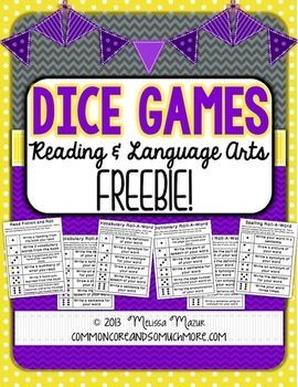 Dice Games - Reading and Language Arts - FREE on TpT; can be used for spelling words, using a dictionary or thesaurus, and to enhance reading (fiction & nonfiction)