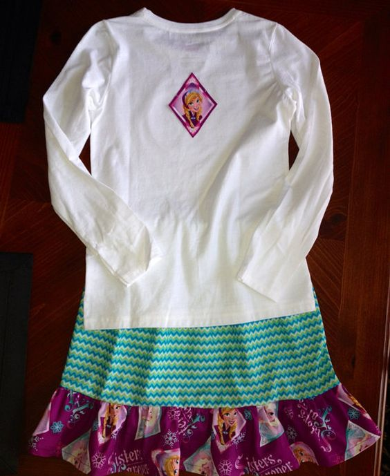 Frozen skirt and shirt on Etsy, $30.00