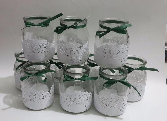 Souvenirs de 15 a os con frascos de vidrio decorados con - Transferir fotos a velas ...