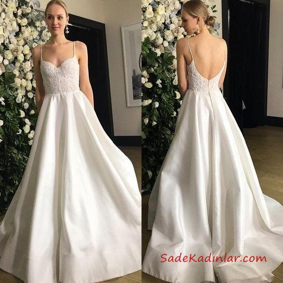 2020 Saten Gelinlik Modelleri Ip Askili Kalp Yaka Sirt Dekolteli Islemeli The Dress Gelinlik Vintage Kiyafetler