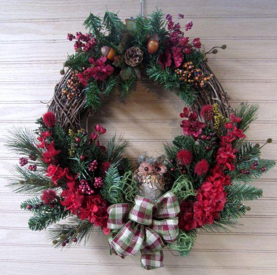 Winter Wreath, Owl Wreath, Woodland Wreath, Door Wreath, Front Door Wreath, Entry Wreath, Porch Wreath, Winter Owl, Burgundy Wreath