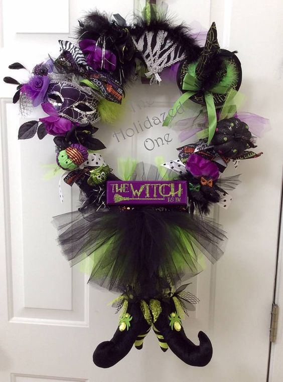 Halloween Witch Wreath Lighted - highly embellished with hat, masquerade mask, legs and tutu