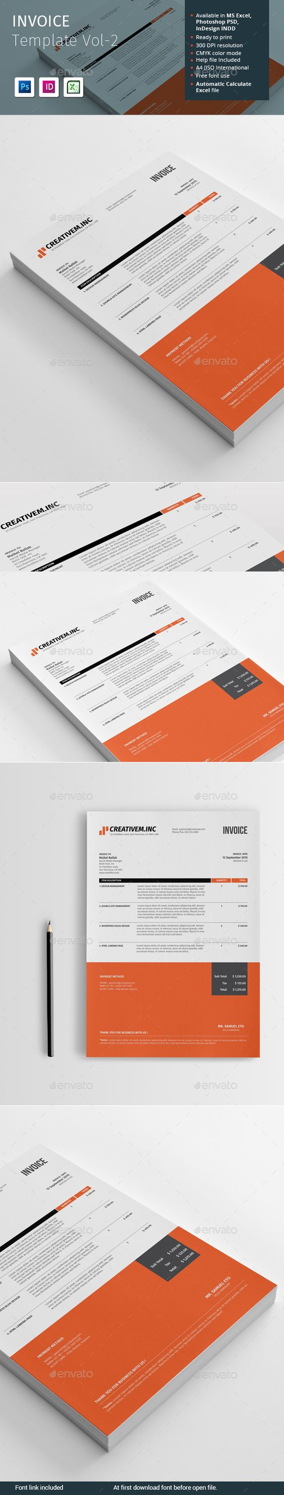 invoice template ms excel, psd, indesign indd | proposal & invoice, Invoice templates
