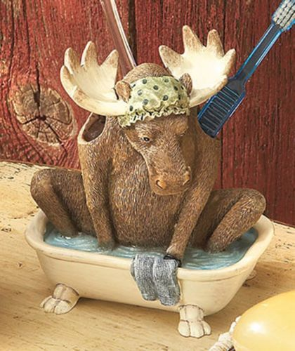 Lodge Themed Bathroom Decor: Laugh Bear Moose Tooth Brush Holder Lodge Cabin Country