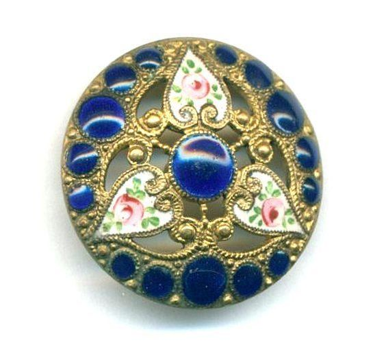 Antique Button...Roses in Hearts with Pierreries...Cobalt Blue Enamel...Pierced