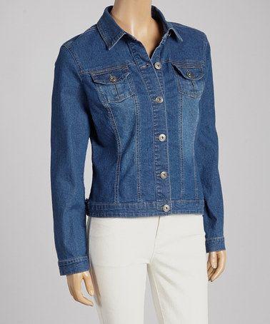 Medium Dark Blue Denim Jacket - Women   Denim jacket womens Blue