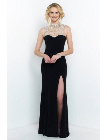Sheath High Neck Sweetheart Chiffon Beading Floor Length Black Prom Dress
