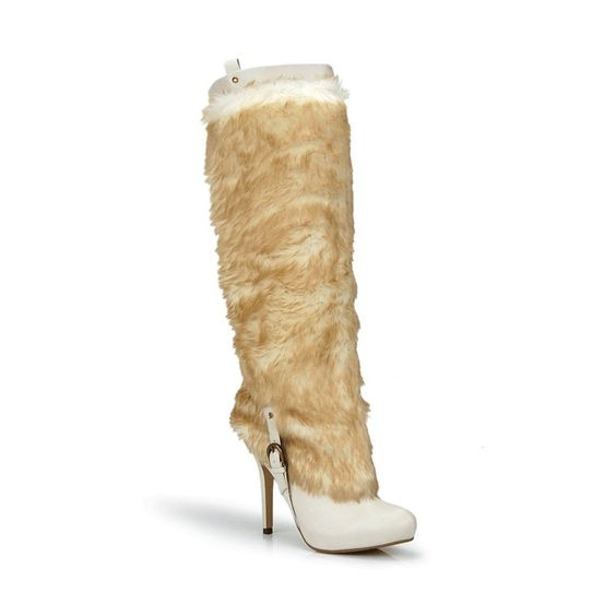 Knee High Faux Fur Buckle Strap Stiletto Boot Off White