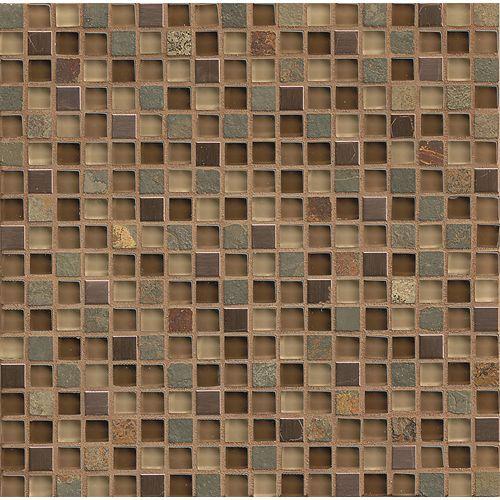 Elume 5 8 X 5 8 Wall Mosaic In Chestnut Mosaic Tiles Travertine Mosaic Tiles Metal Mosaic Tiles