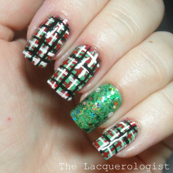 The Lacquerologist: Holiday Nail Art: Christmas Plaid with Tough As Nails!